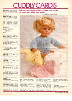 Raglan cardigan 1 of 2 Knitted Doll Patterns, Knitted Dolls, Knitting Patterns Free, Free Pattern, Knitting Dolls Clothes, Doll Clothes, Baby Bib Tutorial, American Girl Doll Shoes, Miniature Dolls