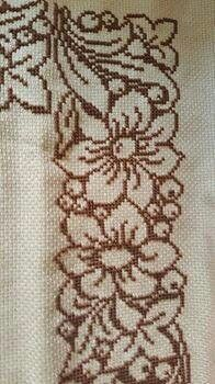 Seccade Cross Stitch Borders, Cross Stitch Rose, Cross Stitch Designs, Cross Stitch Embroidery, Embroidery Patterns, Hand Embroidery, Cross Stitch Patterns, Palestinian Embroidery, Crochet Curtains