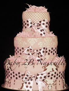 Girls Diaper Cake in Bunny Damask Pink and by Baby2BNashville,