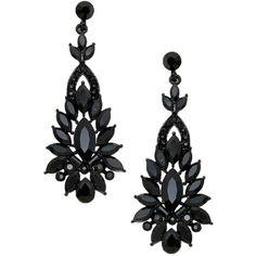 "Jet Black Crystal Earrings Chandelier 2 1/2"" Long ($38) ❤ liked on Polyvore featuring jewelry, earrings, crystal stone jewelry, earring jewelry, crystal jewellery, long chandelier earrings and crystal jewelry"