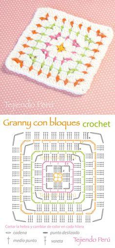 Crochet: granny cuadrado hecho con el punto bloques!