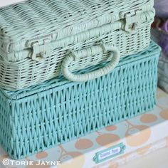 https://flic.kr/p/xgsLKY | Painted baskets full of craft supplies | Blogged at…