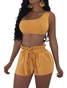 21c3ff6e15  15.99 Amazon.com  BORIFLORS Womens Sexy 2 Piece Set One Shoulder Crop Top  Ruched Shorts Club Jumpsuit