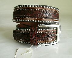 Tony Lama Men's Brown Leather Belt Jagged Rail C41545 Tooled Studded Sz 32