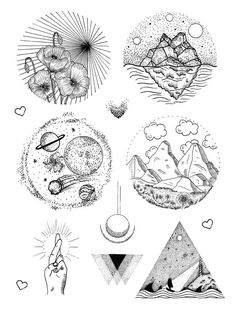 These black dotwork tattoos are made by the talented artist Dorothee. The temporary tattoo sheet consists of flora and fauna drawings and geometric shapes.
