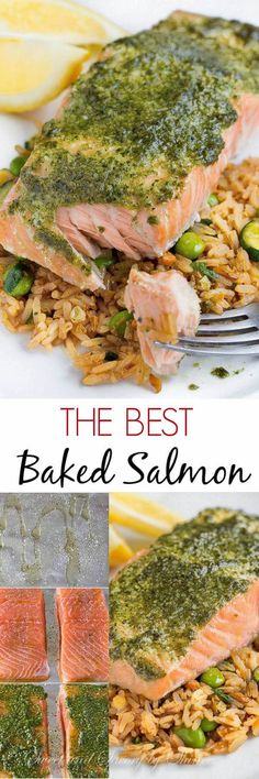 Baked Salmon with Pesto. Easy instructions for a simple oven cooked salmon. Bake at 300 for 15-20 minutes. With a tablespoon or two if pesto spread atop each fillet? Deeee-lish! #seafoodrecipes