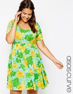 ASOS CURVE Exclusive Skater Dress In Floral Burst Print