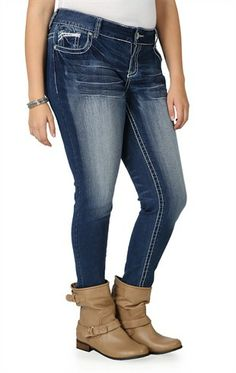 amethyst series 31 bootcut jean with cutout embroidered flap