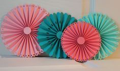 Paper rosettes/ teal coral and pink rosettes/ by TheBannerBee, $10.00