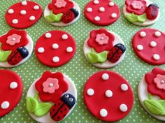 Cute Ladybugs & Toadstool Mushroom Edible Fondant Cupcake Cake Toppers by TopCakeDecors on Gourmly