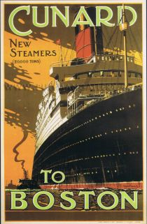 Cunard Cruise Line to Boston.....Travel Poster