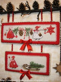 "The holiday, which is always with me .: Bellpull ""Advent im Winterwald"" / Acufactum Quilt Stitching, Cross Stitching, Cross Stitch Embroidery, Cross Stitch Patterns, Vintage Embroidery, Christmas Rugs, Christmas Ornaments To Make, Christmas Christmas, Xmas"