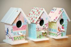 Decorative Bird Houses, Bird Houses Painted, Bird Houses Diy, Art Furniture, Painted Furniture, Cardboard Box Houses, Wood Crafts, Diy And Crafts, Bird House Plans
