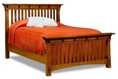 Amish Manitoba Mission Slat Bed - $1,244 for queen in QS oak