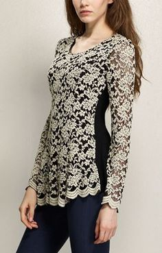 Love Lace! So Pretty! Black and Beige Lace Long Sleeve Peplum Floral Lace Blouse
