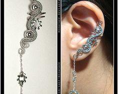 Steampunk Dangly Key Violin Horse ear cuff by Meowchee on Etsy