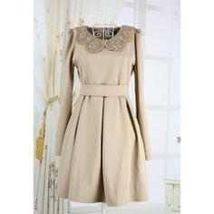 Elegant Peter Pan Neck Long Sleeves Sequin Embellished Collar Fitted Flounce Hem Cotton Blend Women's Dress