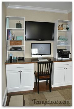 diy office built ins using stock kitchen cabinets and custom storage towers-I would love this for an office, then on the opposite wall have a spare bed for company which would double as a place to relax and watch tv or read. Office Built Ins, Craft Room Office, Built In Desk, Home Office Furniture, Home, Kitchen Base Cabinets, Home Office Design, Stock Kitchen Cabinets, Stock Cabinets