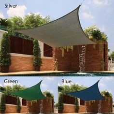 The blue one for the outdoor room (also comes in turquoise) - Medium Square Sail Sun Shade | Overstock.com