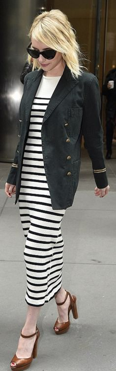 Who made  Emma Roberts' white stripe dress and jacket?