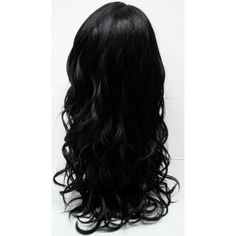 Long 21 inch Black Wavy Wig with Premium Heat Resistant Fiber. ($68) ❤ liked on Polyvore featuring beauty products, haircare, hair styling tools, hair and hair styles