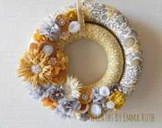 Double Wrapped Fabric Wreath with fabric and felt floral embellishments Yellow & Gray Vintage
