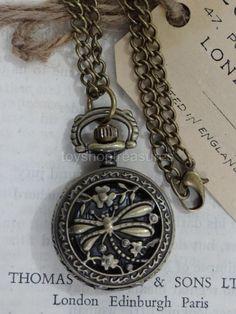 Vintage Bronze Dragonfly Pendant Fob POCKET WATCH Necklace STEAMPUNK Pocket Watch Necklace, Dragonfly Pendant, Steampunk Fashion, Fashion Necklace, Bronze, Pendants, Pendant Necklace, Watches, Ebay