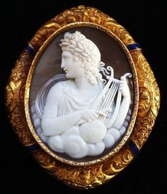 Apollo.  Pommeraie Antiques - s082 - antique victorian vintage cameos, cameo brooch