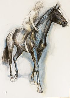 Striding Horse, Louise Pallister - I love how she uses different ways to depict horse and rider so the image doesnt get too complicated. VARIETY