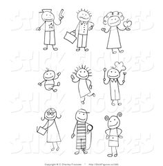 Illustration of Stick People Drawings of a Police Officer, Late Businessman, Teacher, Baby, Child, Chef, Teenager, Prisoner and Kid