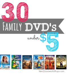 Family Movies List | 30 Family Friend DVDs under $5 Shipped