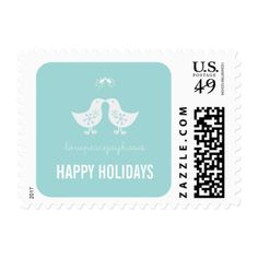 Mistletoe Kissing Chicks Holiday Christmas Stamps