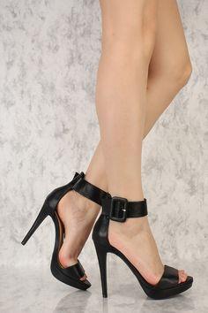 38a50ed3e86f7 Black Open Toe Single Sole High Heels Faux Leather in 2019 | Shoe ...