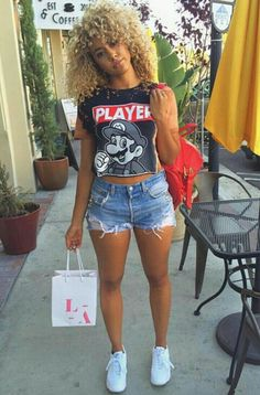30 styles of tomboy casual clothing in summer 00059 Dope Outfits, Casual Outfits, Summer Outfits, Fashion Outfits, Black Women Fashion, Look Fashion, Womens Fashion, Foto Glamour, Mini Short