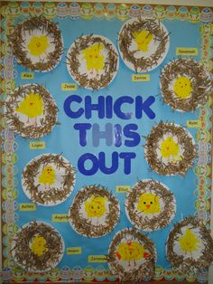 """Chick this Out!"" elementary school bulletin board, perfect for Easter, for kindergarten first or second grade. Spring Bulletin Boards, Preschool Bulletin Boards, Classroom Crafts, Preschool Crafts, Easter Crafts, Crafts For Kids, Art For Kids, Bullentin Boards, Daycare Crafts"