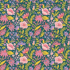 Forest Flowers, Magical Creatures by Monaluna Organic Cotton Teal Background, Background Patterns, Forest Flowers, Wild Flowers, Floral Fabric, Cotton Fabric, Flower Patterns, Print Patterns, Graphic Patterns