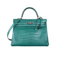 Jewel Hermes Birkin Bag MALACHITE 35cm ALLIGATOR MATTE EMERALD COLOR 2DIE! | From a collection of rare vintage handbags and purses at http://www.1stdibs.com/fashion/accessories/handbags-purses/