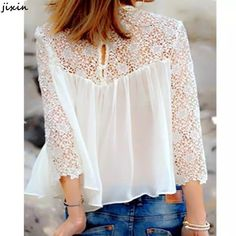 So feminine.A White Lace Splicing Chiffon Long Sleeve T-shirt Mode Style, Style Me, Lingerie Look, Denim And Lace, White Denim, Mode Outfits, Sporty Outfits, Mode Inspiration, Fashion Inspiration