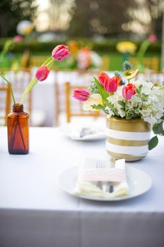 gold white decor tabletop