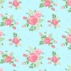 Stop and Smell the Roses! This is the Winifred Rose Main Aqua Floral Fabric by Christopher Thompson. The Pink Roses look Beautiful Against the Aqua Blue Background. Cath Kidston Patterns, Christopher Thompson, Block Of The Month, Riley Blake, Floral Bouquets, Quilt Top, Floral Fabric, Blue Backgrounds, Aqua Blue