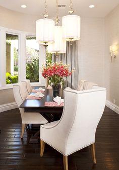 Sophisticated Dining Room.  Beautiful cream/metallic grasscloth, soft pale blue silk drapery
