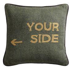 "Coussin en tweed à message ""You Side"""