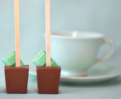 "Mint Hot Chocolate Sticks, Wrap them up and tie them with a ribbon and poof perfect, ""Mint to be"" favor..."