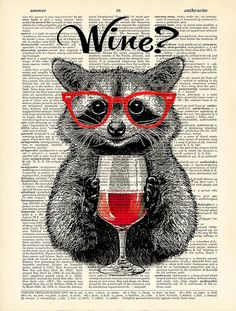 Raccoon poster wine alcohol funny poster funny drink от Natalprint