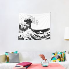 """""""Great Wave Black and White"""" Tapestry by ind3finite 
