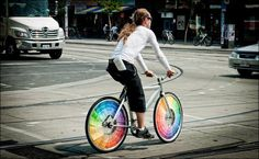Interesting bicycle wheels made with paint swatches