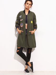 Online shopping for Army Green Patch Pocket Long Sleeve Jacket from a great selection of women's fashion clothing & more at MakeMeChic.COM.
