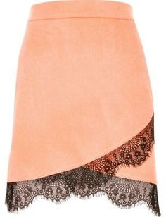 River Island Womens Pink faux suede lace hem skirt