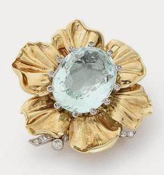 CARTIER ~ Aquamarine, diamond and gold brooch.
