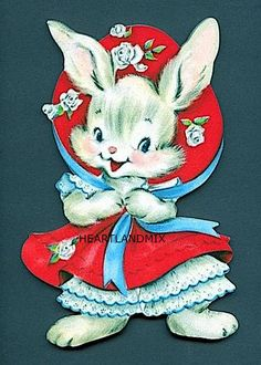 Vintage Birthday Card Bunny Rabbit In Flocked Bonnet&Petticoat Pink Dress Valentine Images, My Funny Valentine, Valentine Greeting Cards, Vintage Valentine Cards, Vintage Greeting Cards, Vintage Holiday, Vintage Postcards, Valentines Greetings, Christmas Greetings